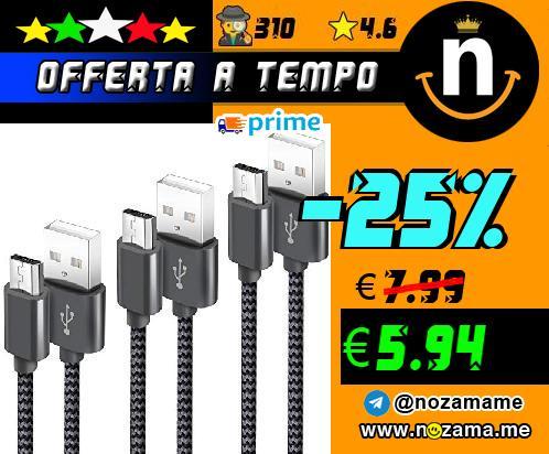 3x Cavi Ricarica Micro-USB
