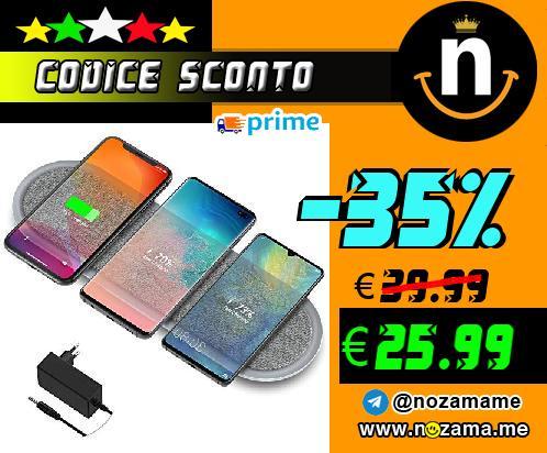 Lecone Caricatore Wireless in Tessuto Qi Caricatore Wireless Triplo con Due Porte USB per iPhone 11 11 PRO   11 PRO Max XS Max X  Samsung Galaxy Note 10   S20   S20     S10  Adattatore Incluso