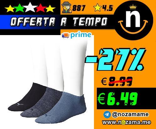 Puma Unisex - Calzini Sport  pacco da 3  Colore Blu  Denim Blue   Taglia 39-42 EU