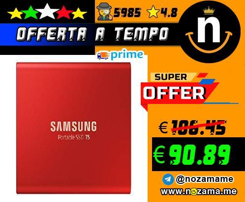 Samsung T5 da 500 GB  USB 3 1 Gen 2  SSD Esterno Portatile  Rosso  MU-PA500R