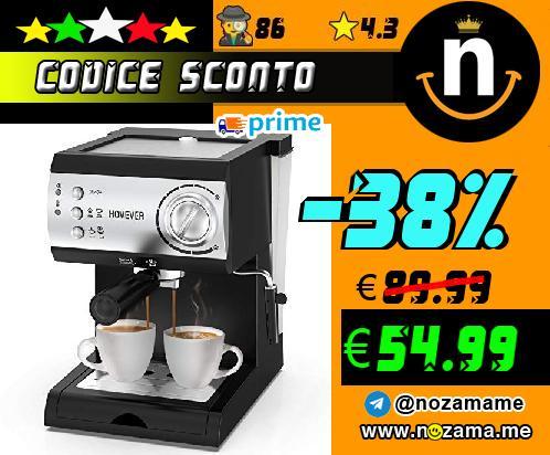 Homever Macchina per Caff   Espresso  Macchina per Caff   Espresso da 15 bar  Macchina manuale per il Caff   Espresso e Cappuccino  1050W  Nero