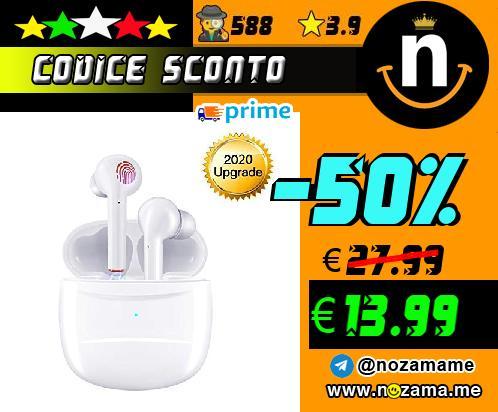 Auricolari Bluetooth 5 0 Senza Fili  Ear-In Cuffie con Custodia Di Ricarica Portatile  Cancellazione del rumore 3D Mic-Incorporato  Per Correre  Andare in Bicicletta  Bianco