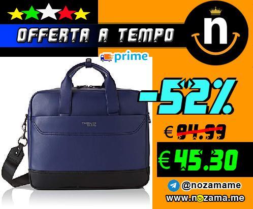 Trussardi Jeans City Business MD Ecol  Borsa a Mano Uomo  Nero  Black   Blu   10x30x40 cm  W x H x L